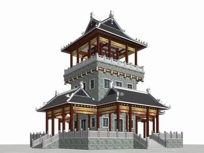 中式塔楼SU模型SU模型下载【ID:531624385】