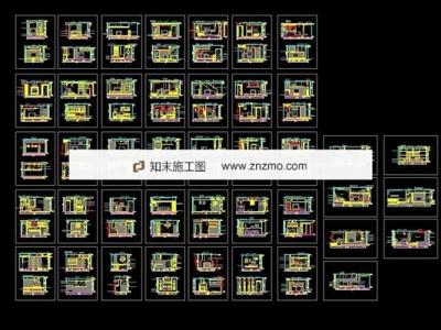 几十套电视背景墙施工图下载