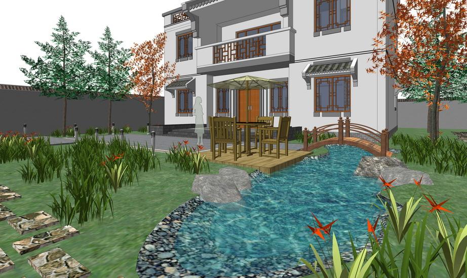 中式庭院景观SU模型SU模型下载【ID:521753929】