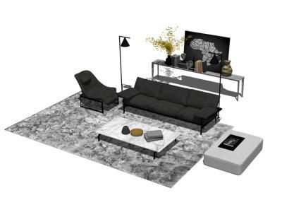 现代客厅沙发茶几装饰柜组合SU模型SU模型下载【ID:726376653】