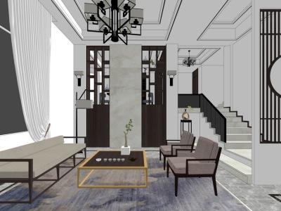 现代风格客厅餐厅室内设计SU模型SU模型下载【ID:932281879】