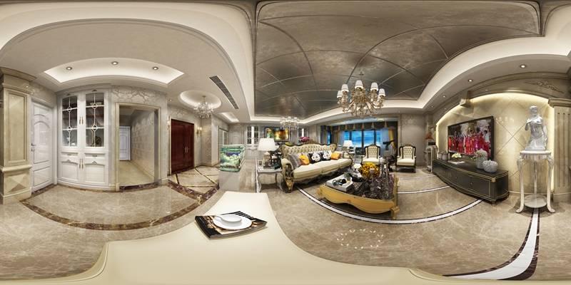欧式客厅 吊灯 台灯 装饰柜 单双人沙发 茶几 摆件 挂画