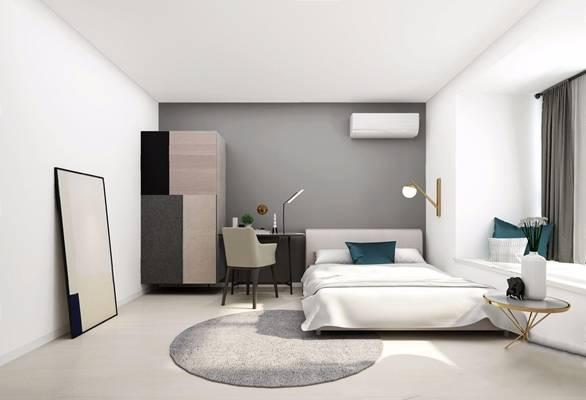 现代卧室 现代卧室 双人床 书桌椅 衣柜 边几 壁灯 台灯