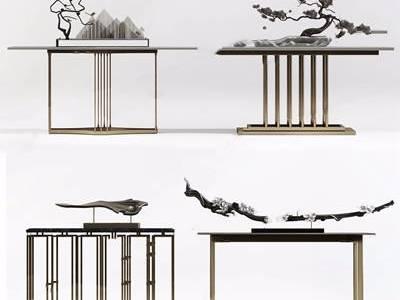 新中式案几摆件组合 新中式边柜/玄关柜 端景台 松树 装饰品 摆件 干支