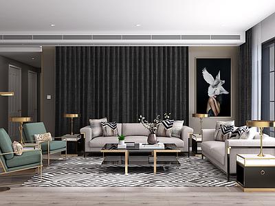 现代客厅沙发茶几边几休闲椅组合3d模型下载【ID:735390700】