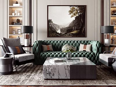 新古典简欧轻奢客厅沙发茶几组合3d模型下载【ID:735421789】
