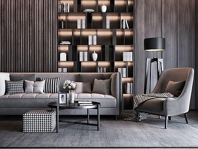 现代沙发组合3d模型下载【ID:135523035】