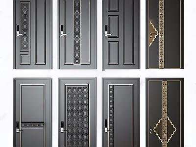 新中式门平开门组合3d模型下载【ID:635527405】