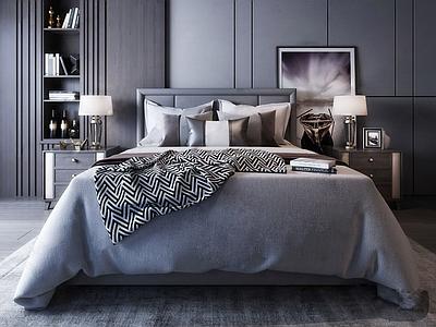 现代卧室双人床组合3d模型下载【ID:735527082】