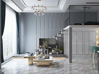 现代复式小公寓客餐厅厨房卧室3D模型【ID:935804731】
