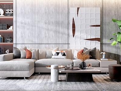 现代转角布纹沙发茶几组合3D模型【ID:135807071】
