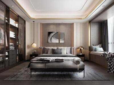 现代轻奢卧室3D模型【ID:435825302】