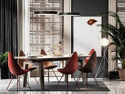 北欧餐桌椅组合3D模型【ID:335836405】