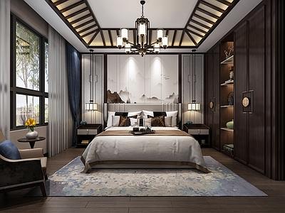 新中式卧室3D模型【ID:435836843】