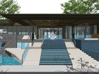 新亚洲住宅小区入口景观SU模型SU模型下载【ID:531084432】