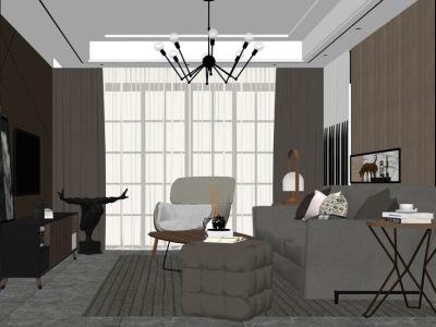 现代客厅室内设计SU模型SU模型下载【ID:930333871】
