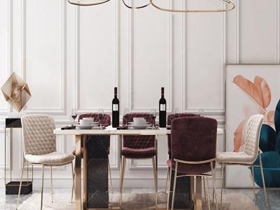 现代轻奢餐桌椅3d模型下载【ID:332903444】