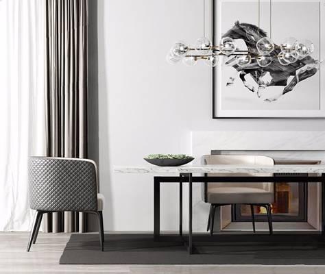 现代餐桌椅组合 现代桌椅组合 吊灯 窗帘 绿植 椅子 餐桌椅组合