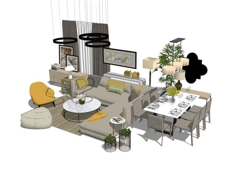 现代风格客厅餐厅家具组合SU模型SU模型下载【ID:720572682】