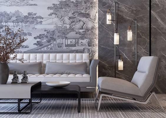 现代沙发休闲椅茶几落地灯 现代组合沙发 茶几 休闲椅 落地灯 花艺 摆件 地毯