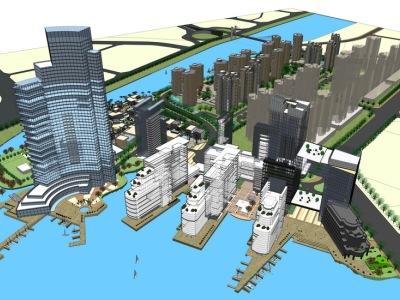 现代商业街+现代高层办公楼SU模型SU模型下载【ID:331624941】