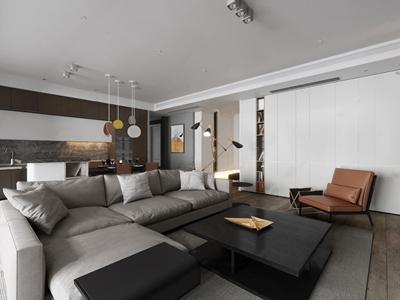 现代客厅 现代整体模型 转角沙发 茶几 休闲椅 角几 落地灯 吊灯 挂画 洗手台 餐桌 餐椅 餐具