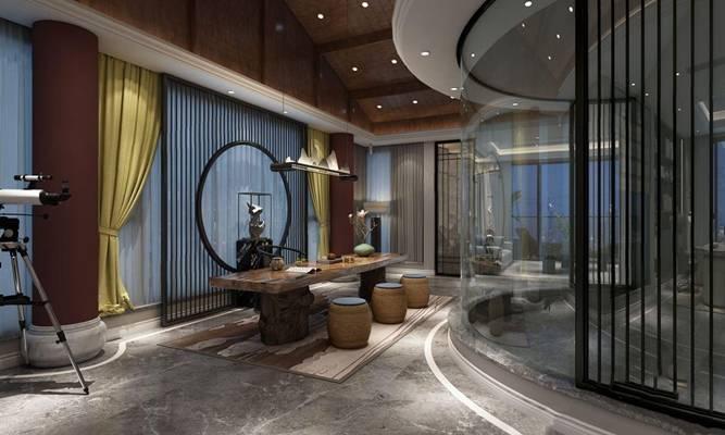 新中式客厅书房茶室 新中式书房 客厅 书房 茶台 吊灯 雕塑 茶具 多人沙发 茶几 边几 床尾凳 办公桌椅 壁柜 摆件