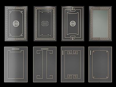 新中式橱柜门板组合3d模型下载【ID:633621851】