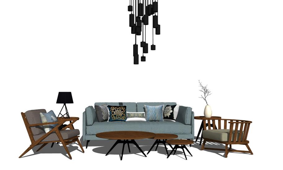 现代客厅沙发茶几吊灯组合SU模型SU模型下载【ID:722238641】