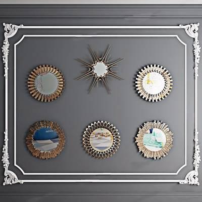 现代装饰镜一组 欧式镜子 装饰镜 玄关镜 太阳镜 太阳神 墙面挂饰