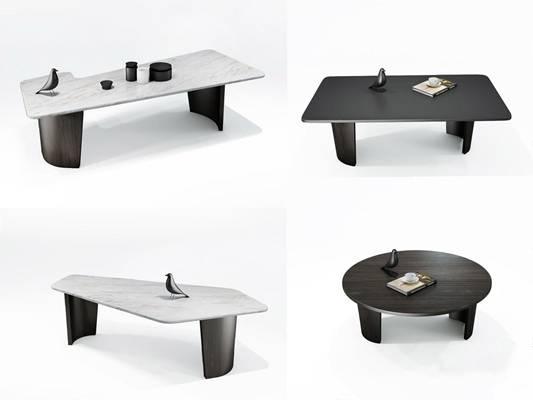 意大利米洛提Minotti现代茶几组合3d模型下载【ID:65823409】