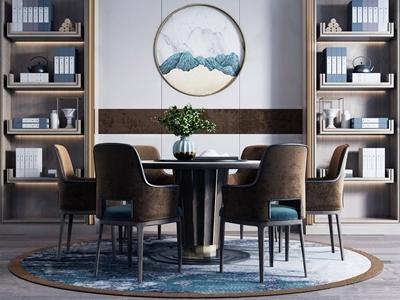 新中式餐桌椅组合3d模型下载【ID:333793460】