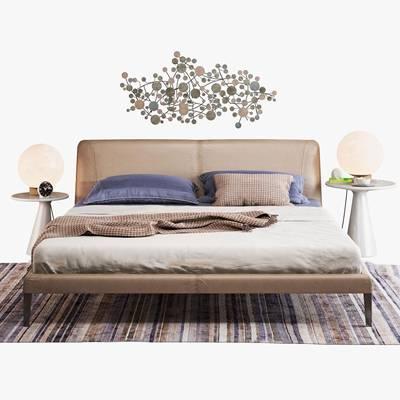 现代双人床双人床台灯组合3D模型