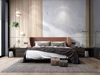 现代卧室 现代卧室 双人床 床具 床头柜 吊灯 台灯 床品 家纺 摆件
