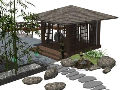 庭院凉亭石头石灯竹子组合SU模型