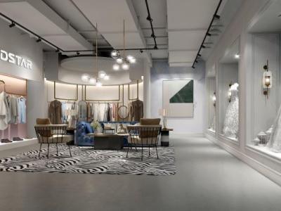 现代服装店展示区 服装店