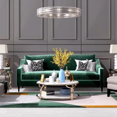 后现代布艺沙发茶几边几台灯吊灯组合3D模型