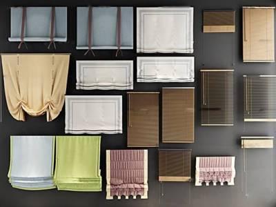 现代窗帘布帘卷帘组合3D模型