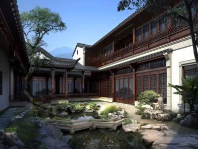 一套新中式古建筑独栋别墅建筑群SU模型 +官方摄影+效果图+漫游动画施工图下载【ID:732109160】
