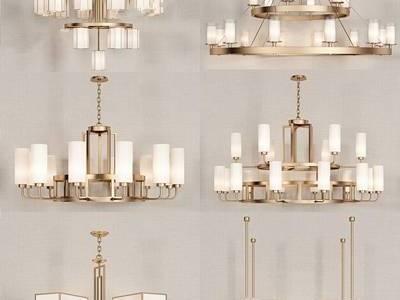 新中式吊灯组合 新中式吊灯 金属吊灯 多头吊灯 吊灯组合