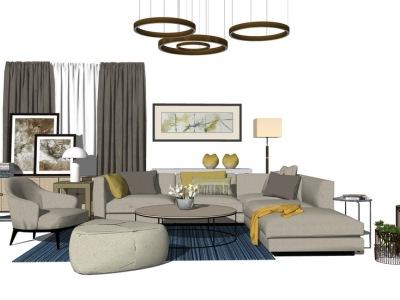 现代客厅沙发茶几吊灯窗帘组合SU模型SU模型下载【ID:730332675】