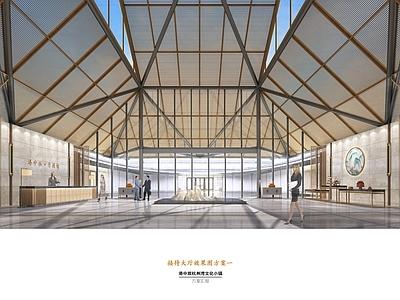 港中旅宁波杭州湾售楼处 效果图+施工图CAD+软装方案+概念方案施工图下载