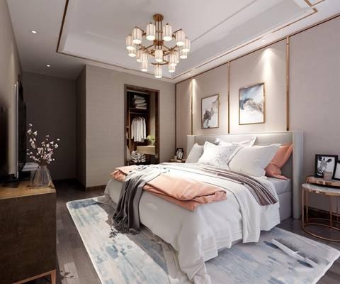 现代卧室 现代卧室 双人床 边柜 吊灯 衣柜