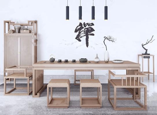 新中式茶台凳子衣柜组合3d模型下载【ID:320642671】