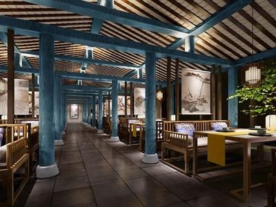 中式餐厅3d模型下载【ID:333791223】
