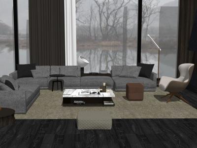 现代客厅沙发茶几组合SU模型SU模型下载【ID:732280672】