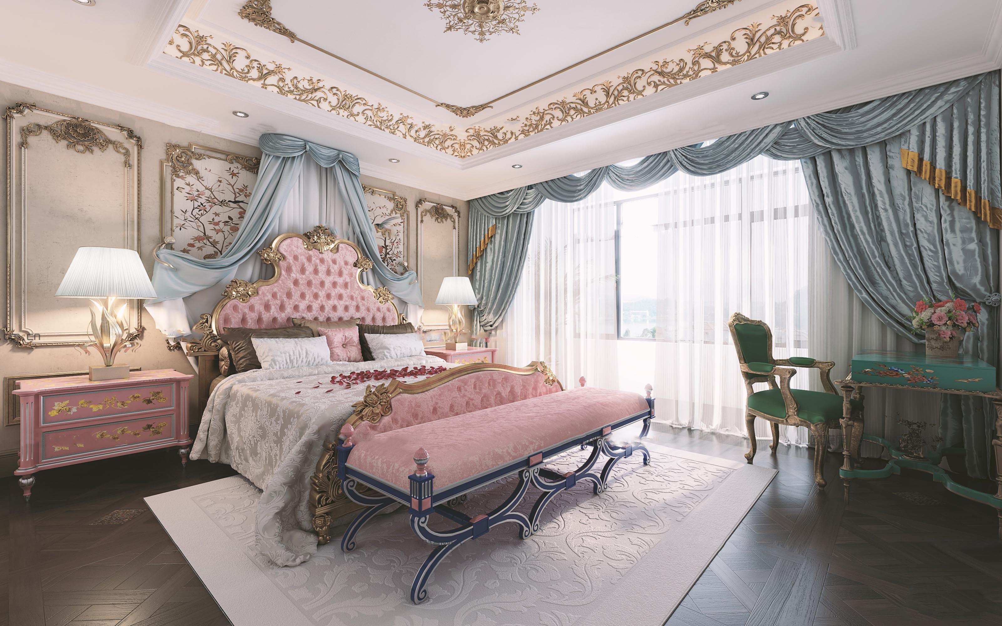 欧式古典女儿房卧室 床尾凳 吊灯 台灯 床头柜 梳妆台