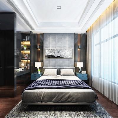 现代卧室 现代卧室 双人床 床头柜 台灯 壁灯 挂画 地毯