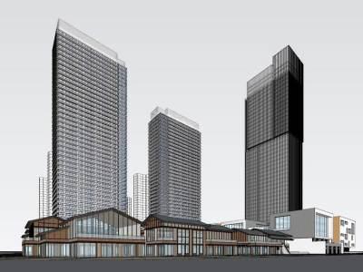 金地南京超高层办公楼+太古里风格商业街SU模型SU模型下载【ID:326780974】