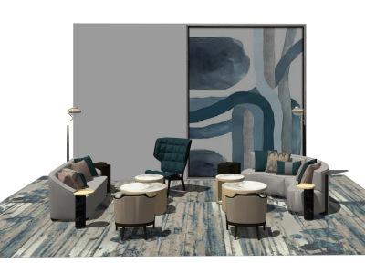 现代客厅沙发茶几组合SU模型SU模型下载【ID:728760678】
